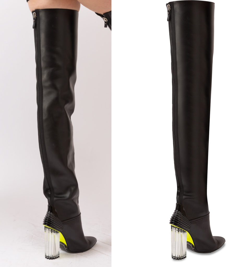 balmain long black women boot before and after product image retouching