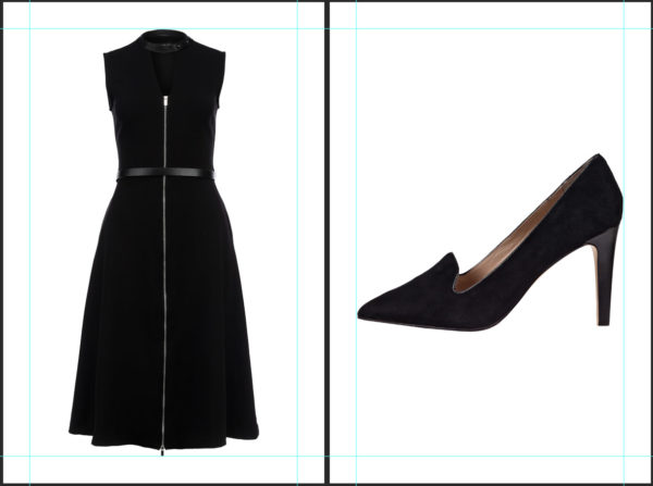 two images aligned in Photoshop with guides: black dress and black shoe next to each other