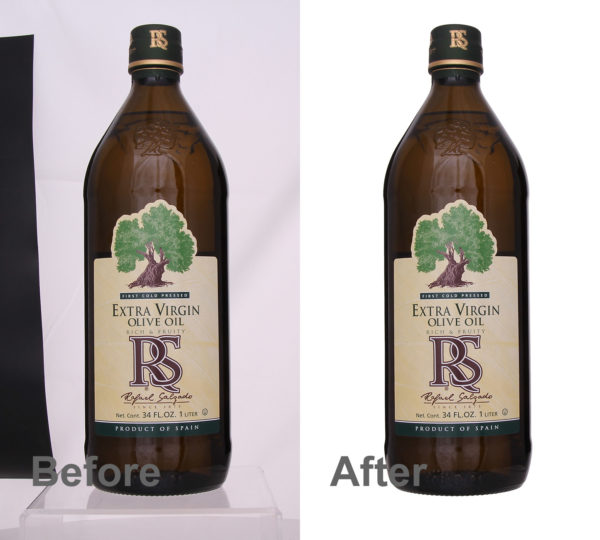 brown olive oil bottle before and after automatic background removal in Photoshop
