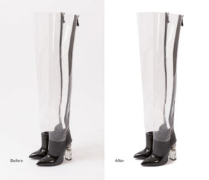 gray transparent balmain boots before and after automatic background removal in photoshop