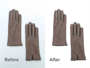 Brown gloves before and after automatic background removal in Photoshop