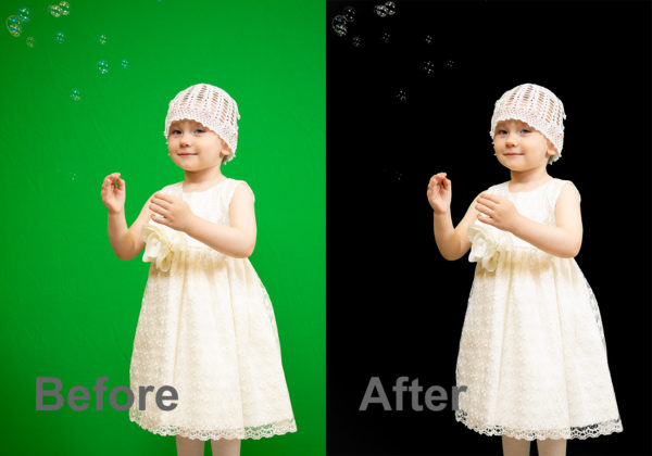 before and after automatic green screen removal in Photoshop