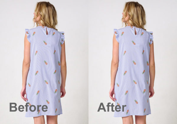 model wearing blue striped dress before and after moire removal in photoshop