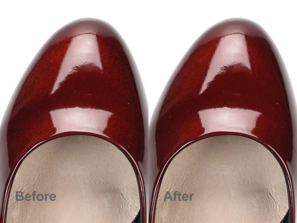 red shoes before and after moire reduction in Photoshop