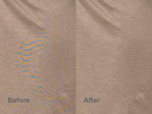 beige texture before and after moire reduction in Photoshop
