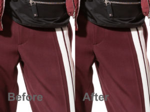 crimson valentino trousers before and after moire reduction in photoshop