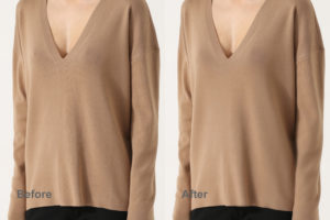 beige sweater before and after moire reduction via frequency splitting in photoshop