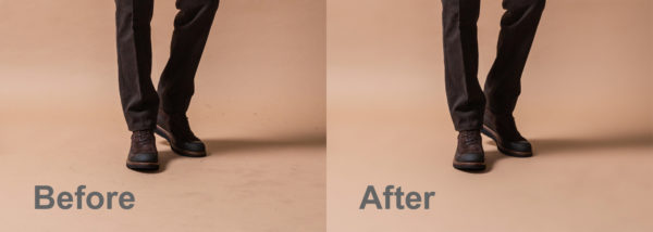 dirty gray brown backdrop before and after dust and dirt removing in Photoshop