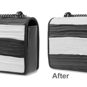 black and white balmain bag colored in Photoshop to be white and black before and after