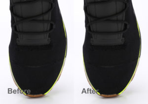 black shoe close up before and after dust removing in photoshop