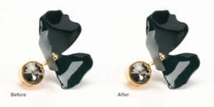 golden ring with black plastic flower before and after dust removing in Photoshop
