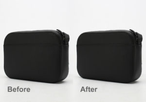 black balenciaga bag before and after dust removing in Photoshop