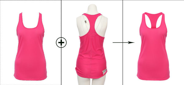 invisible mannequin Photoshop technique shown on a pink vest