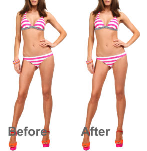 model wearing bikini before and after automatic skin smoothing in photoshop