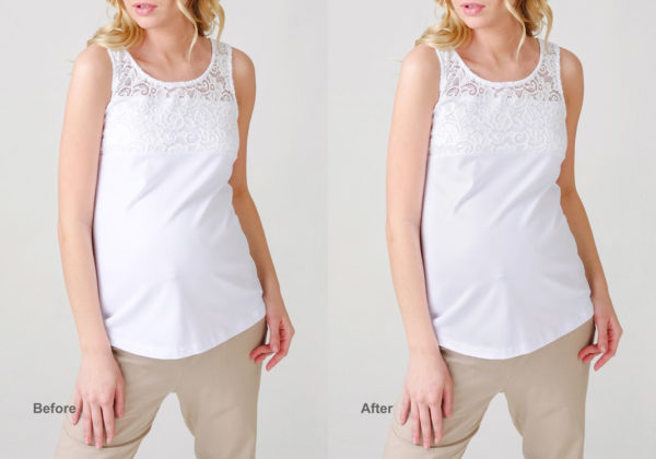 pregnant woman wearing white top before and after texture revealing in Photoshop
