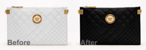 white versace bag colored in photoshop black before and after