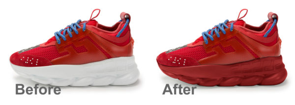 versace shoe sole before and after changing color in Photoshop from white to dark red